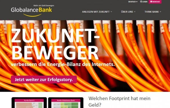 Die Gewinner-Website bei den TYPO3-Awards der Globalance Bank. (Screenshot: Globalance Bank)