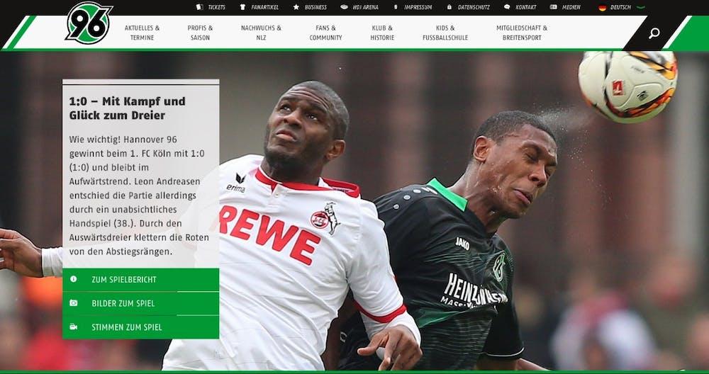 In der Kategorie Sport der TYPO3 Awards 2015 hat die Agentur Brandung aus Köln mit der Website des Fußballvereins Hannover 96. (Screenshot: Hannover 96)
