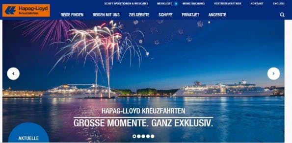 Die Gewinner-Website bei den TYPO3-Awards von Hapag Lloyd. (Screenshot: Die Gewinner-Website bei den TYPO3-Awards von Hapag Lloyd. (Screenshot: Holiday Home)
