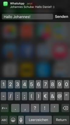 Ein Wisch nach unten und losgetippt: Die Schnellantwort-Funktion von iOS funktioniert jetzt auch mit WhatsApp, (Screenshot: t3n)