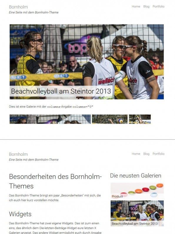 Die zwei verschiedenen Anzeigemöglichkeiten in der single.php des WordPress-Themes: Oben eine Galerie, unten ein normaler Artikel. (Screenshot: eigene WordPress-Installation; Fotos: Dennis Brinkmann)