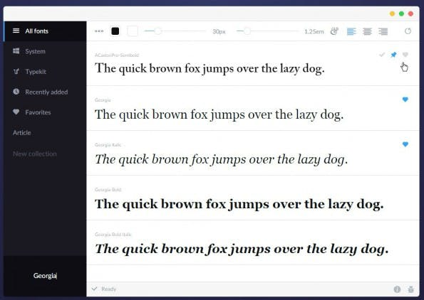 FontBase: Mit diesem Font-Manager können Designer Schriftarten vergleichen und verwalten. (Screenshot: fontba.se/t3n.de)