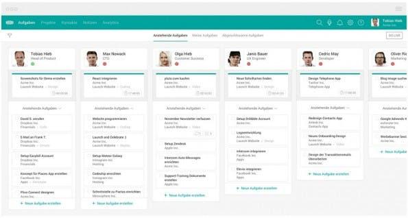 TeamGrid: Teammitgliedern Aufgaben per Drag & Drop zuweisen. (Screenshot: teamgridapp.com/t3n.de)