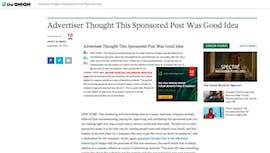 Native-Ad-Stunt von Adobe: Ein satirischer Sponsored Post auf einer satirischen Seite, der sich selbst persifliert. (Screenshot: theonion.com)