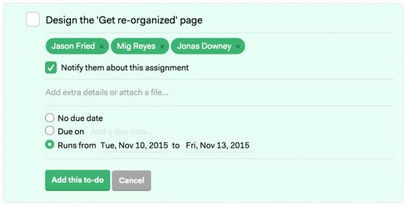 Der Projektmanager kann jetzt fleißig Aufgaben verteilen. (Screenshot: Basecamp)