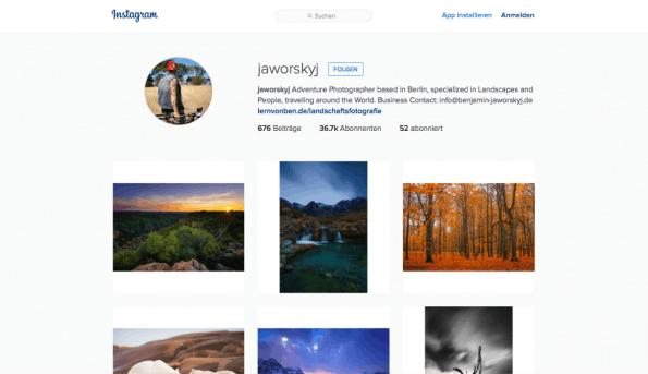 36.000 Follower allein auf Instagram. Jaworskyj setzt zur Vermarktung seiner Aufnahmen massiv auf Social Media. (Screenshot: t3n)