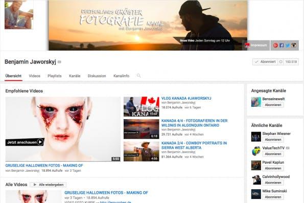 """150.000 Abonnenten zählt """"Jaworskyj Pictures"""". Es ist der größte YouTube-Kanal für Fotografie in Deutschland und soll Einsteigern das Knipsen beibringen. (Screenshot: t3n)"""