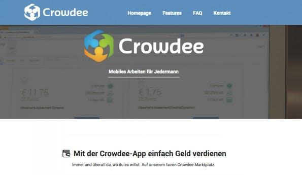 """Crowdee-Webseite: """"Mit der Crowdee-App einfach Geld verdienen!"""" (Screenshot: t3n)"""