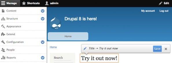 Änderungen am Inhalt können auch direkt im Frontend vorgenommen werden. (Screenshot: drupal.org)