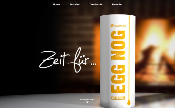 Egg Nogg Promo-Seite mit NEOS CMS. (Screenshot: t3n)