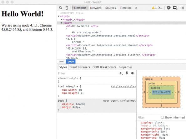 Die erstellte Hello-World-Electron-App (Screenshot: Electron)