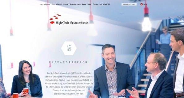 Als öffentlich-privatwirtschaftliche Partnerschaft fördert der High-Tech-Gründerfonds Tech-Startups von einem frühen Zeitpunkt an. (Screenshot: HTGF)