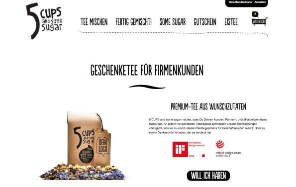 Business-Präsente für die kalte Jahreszeit: Erlesener Tee mit Firmen-Branding (Screenshot: 5 Cups and some sugar)