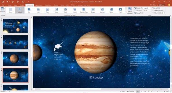 Office 2016: Mit Morph und Designer bekommen Office-365-Abonnenten zwei neue PowerPoint-Funktionen. (Screenshot: Microsoft)