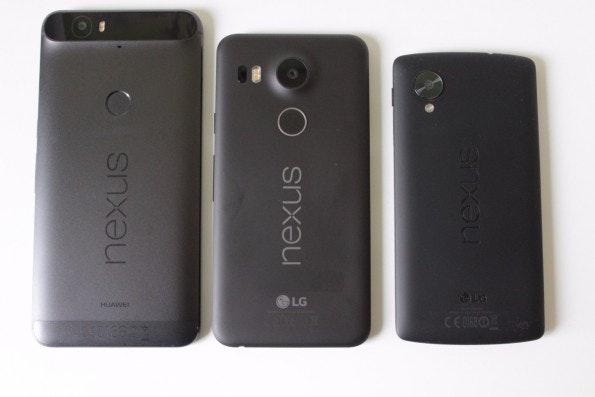 Von links nach rechts: Nexus 6P, 5X und 5 (Foto: t3n)