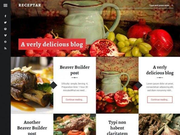 Receptar kommt mit einem ungewöhnlichen Startseitenlayout. (Screenshot: WordPress.org)