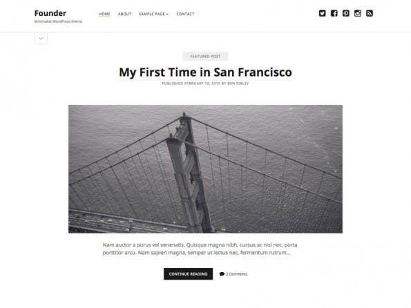Founder kommt mit einem einspaltigen Layout daher. (Screenshot: WordPress.org)