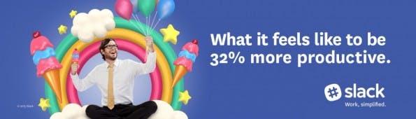 Slacks erste Anzeigen-Kampagne: 34 Prozent mehr Produktivität. (Grafik: Slack)
