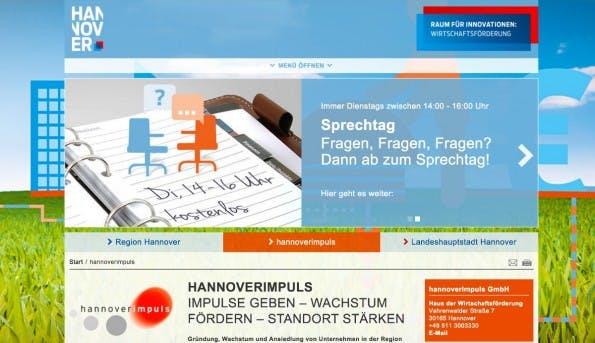 Wirtschaftsförderungsgesellschaften wie etwa hannoverimpuls in der niedersächsischen Hauptstadt bieten Beratungen und Coachings, Zugang zu Finanzmitteln und je nach Standort weitere Hilfen für Gründer, etwa Coworking-Spaces oder Austauschprogramme. (Screenshot: hannoverimpuls)