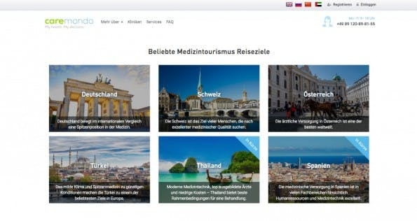 Startup-News: Medizintourismus-Plattform Caremondo erhält Gelder von Holtzbrinck. (Screenshot: Caremondo)