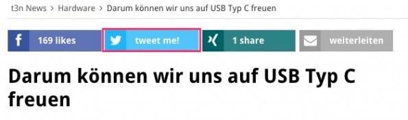Gähnende Leere: Aus für Twitter-Share-Count-API. (Screenshot: t3n)