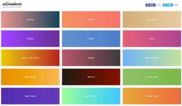uiGradients ist eine super Inspirationsquelle für Farbverläufe. (Screenshot: uiGradients.com)