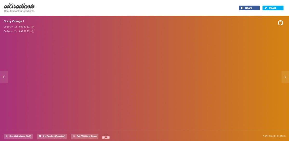 uiGradients – Einzelansicht. (Screenshot: uiGradients.com)