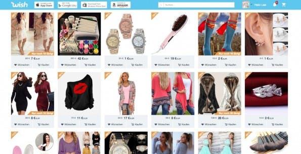 Die Shopping-Plattform Wish ist für die mobile Nutzung optimiert. (Screenshot: wish.com)