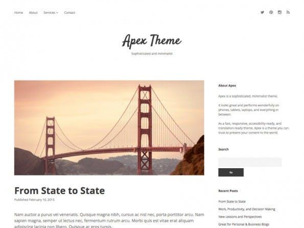Apex setzt auf große Beitragsbilder und eine klare Typo. (Screenshot: WordPress.org)