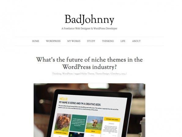 BadJohnny legt den Fokus auf den Text. (Screenshot: WordPress.org)
