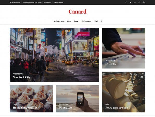 Canard bietet einen schicken Bereich für Featured-Beiträge. (Screenshot: WordPress.org)