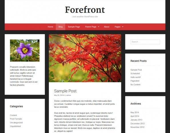 Das Forefront-Theme bietet eine Sidebar links und rechts. (Screenshot: WordPress.org)