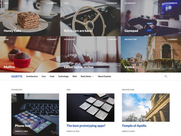 Gazette bietet eine große Grid-Ansicht von letzten Beiträgen im Header-Bereich. (Screenshot: WordPress.org)