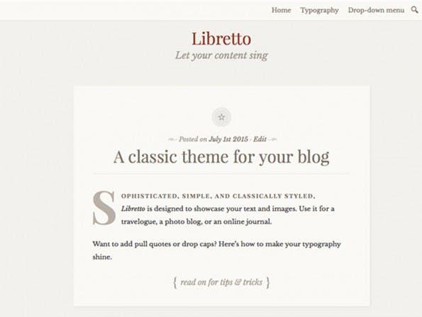 Schicke Typo für Schreiber bietet Libretto. (Screenshot: WordPress.org)