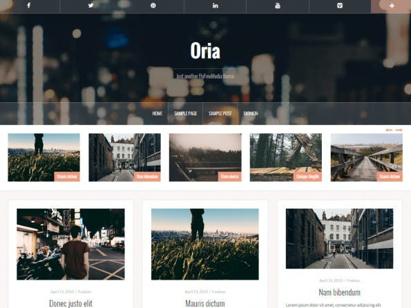 Oria stellt die Beiträge auf der Startseite in einem Masonry-Layout vor. (Screenshot: WordPress.org)