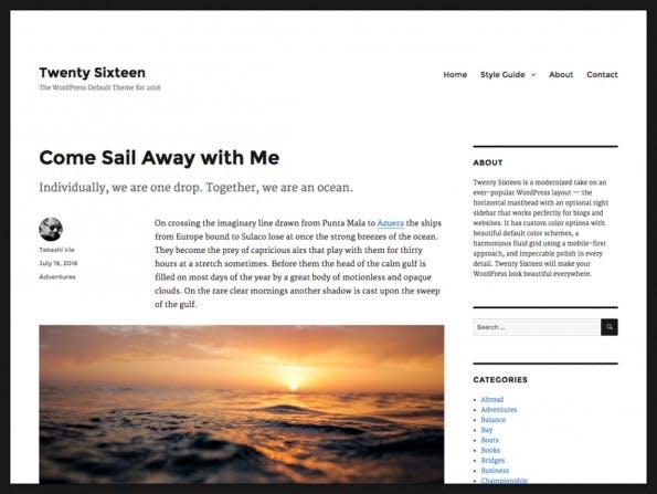 Das neue Theme für WordPress 4.4. (Screenshot: WordPress.org)