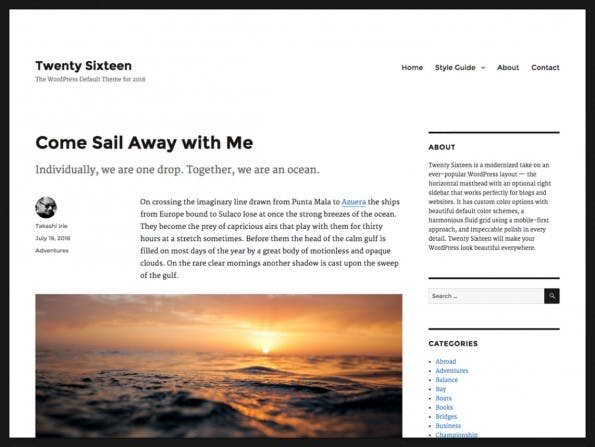 Das neue Theme für WordPress 4.4. (Screenshot: WordPress.org)