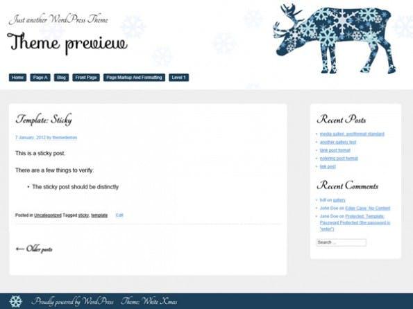 Weihnachten in blau und weiß: Ein responsives Weihnachts-Theme für eure WordPress-Seite. (Screenshot: wordpress.org)