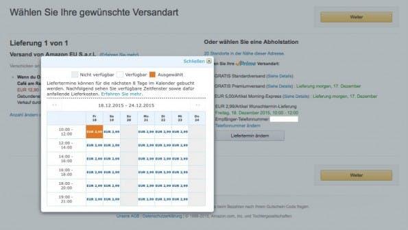 Amazon-Lieferung: Prime-Kunden können ihren Wunschtermin wählen. (Screenshot: Amazon.de/t3n)