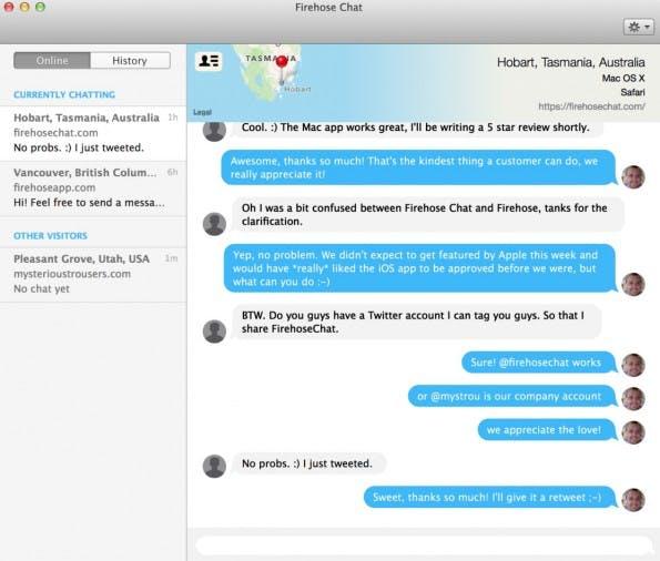 Der native Live-Chat- Firehose-Client (Screenshot: FirehoseChat)