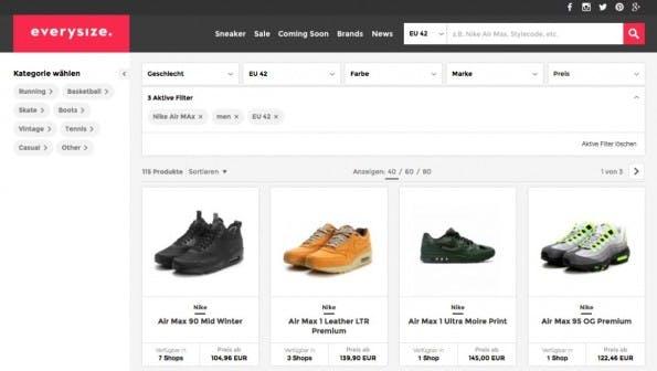 E Commerce kreativ: Die Sneaker Suchmaschine Everysize löst