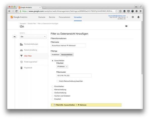 So schließt du intere IP-Adressen aus. (Screenshot: t3n/ Google Analytics)