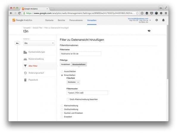 Filterst du auf deinen eigenen Hostname, entfernst du automatisch Spam. (Screenshot: t3n/ Google Analytics)