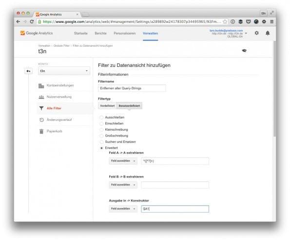 Entferne unnötige Query-Strings mit diesem Filter. (Screenshot: t3n/ Google Analytics)