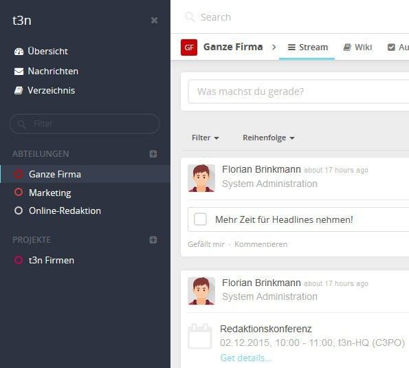 Mit der Enterprise-Edition gibt es unter anderem ein verändertes Design sowie die Möglichkeit, Spaces nach Typen zu gruppieren. (Screenshot: eigene HumHub-Installation)