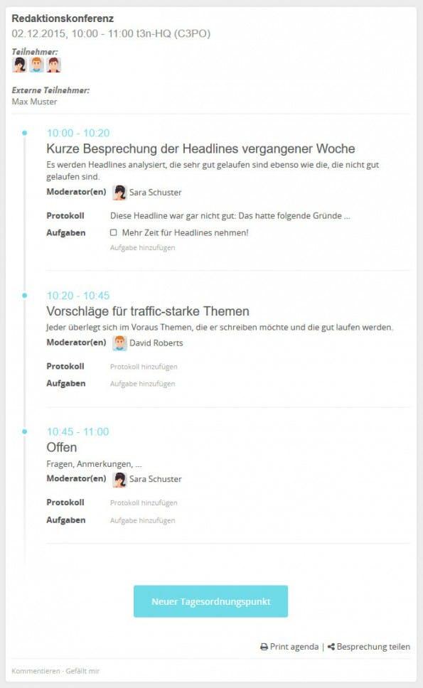 Meetings mit HumHub anlegen, protokollieren und Aufgaben verteilen. (Screenshot: eigene HumHub-Installation)