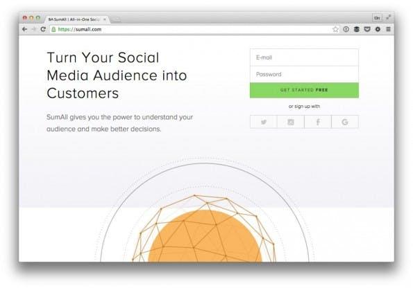 Die Analyse deiner sozialen Kanäle übernimmt Sumall. (Screenshot: t3n)
