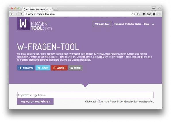 Das W-Fragen-Tool hilft bei der Themenrecherche. (Screenshot: t3n)