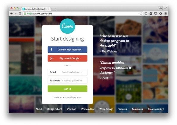 Wer visuelle Inhalte erstellen will, sollte den kostenlosen Webdienst Canva testen. (Screenshot: t3n)