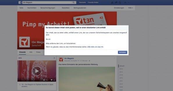 Links auf das Netzwerk tsu.co sind bei Facebook nicht mehr erlaubt. (Screenshot: t3n)